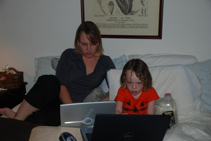 Mommy and Boo Dork out on the laptops - Santa Paula, CA